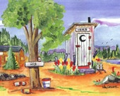 Personalized Outhouse Print (Personalize by adding  your name on the sign)