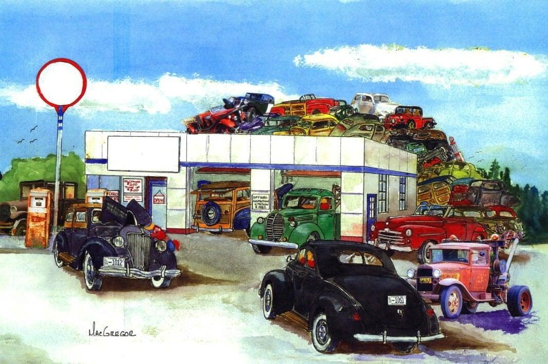 Personalized early ford v8 garage art print nostalgic for Garage prints
