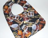 Reversible Handmade Bib...MUSICAL INSTRUMENTS