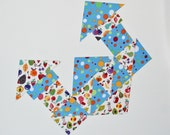 Fabric Magnet Puzzle Refrigerator Patchwork Quilt: Multicolor Fruits and Blue with Color Dots