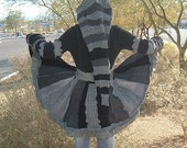 One of a kind Fairy Elf Fantasy Dream Coat Made from upcycled recycled reconstructed sweaters Medium Black White and Grays Night Elf renaissance bohemian Gothic Gypsy Alternative Punk