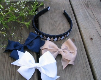 Back To School Hairbows/Headband uniforms colors
