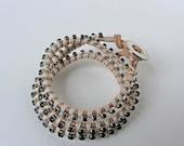 Triple Wrap  Leather Bracelet With Black Rhinestone Link Chain