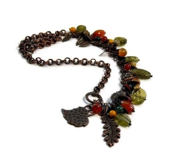 Cascading Leaves Gemstone Necklace, Copper Falling Leaves, Autumn, Fall, Multicolor, Mixed Stones, Asymmetrical, Handmade