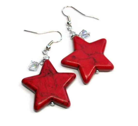 Chunky Red Star Dangle Earrings, Gemstone, Patriotic