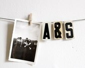 vintage small white metal hanging letters
