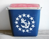 vintage red and blue nautical cooler