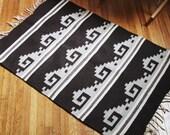 vintage large brown geometric indian rug
