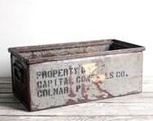 SALE vintage industrial metal factory bin