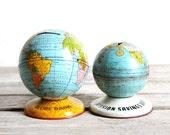 set of two vintage tin world globe banks