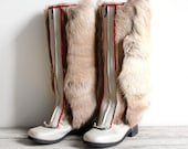SALE vintage nordic reindeer fur and leather boots