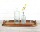 vintage brass and teak serving tray