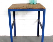 vintage industrial wood and metal work table