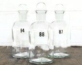 vintage numbered apothecary lab glass bottle