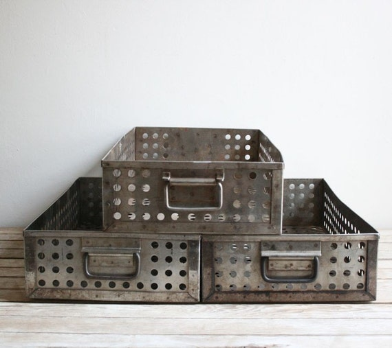 vintage industrial metal perforated drawers - reserved for mllerorie