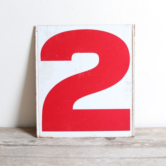 vintage double-sided red and white gas station numbers - no.2 / no.3