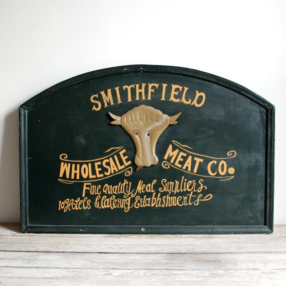 Ships Canada Us Wide Wood Sign: SALE Vintage Smithfield Wholesale Meat Co. Wooden By