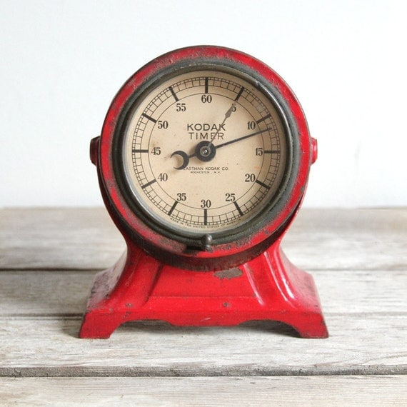 antique red metal kodak darkroom timer