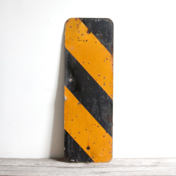 vintage x-large black and yellow bridge reflector sign
