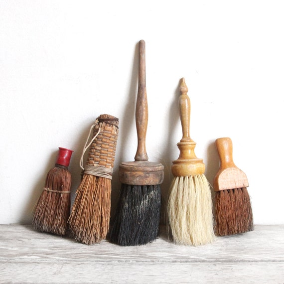 set of five vintage brushes - reserved for ankie
