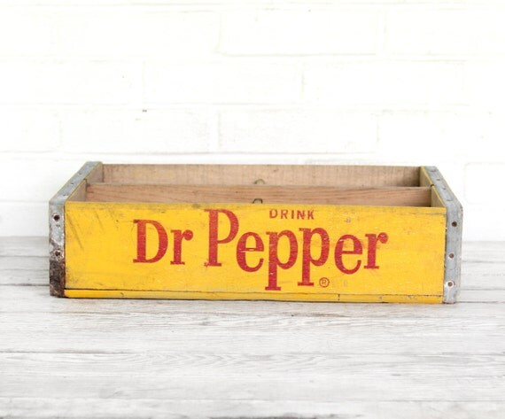 vintage yellow and red dr. pepper crate