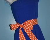 One Shoulder Blue Dress with Orange Polka Dot Belt