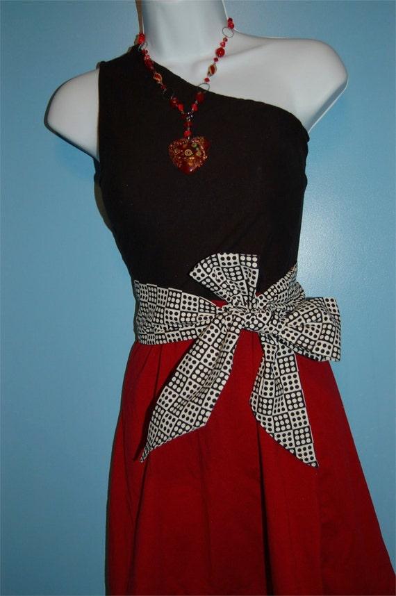 One Shoulder Garnet and Black Dress with Polka Dot OR Houndstooth Belt