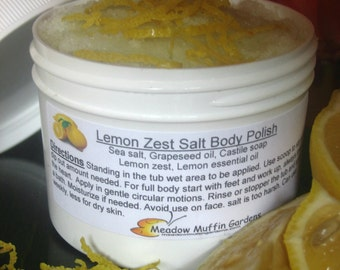 Salt Scrub, Lemon Zest Salt Body Polish, Exfoliate, Soak