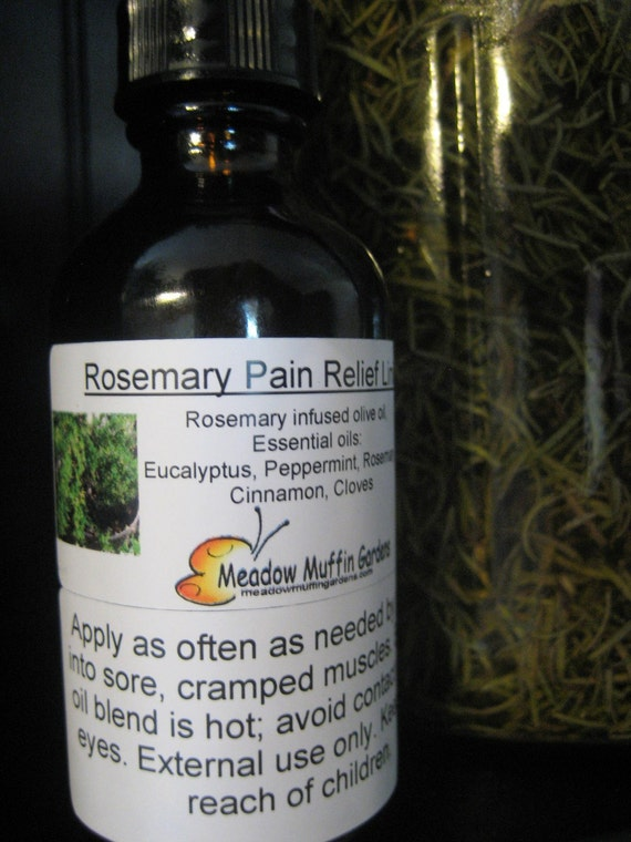 Liniment, Rosemary Oil Pain & Warming Rub for sore muscles, cold fingers n' toes, Pre-workout massage oil