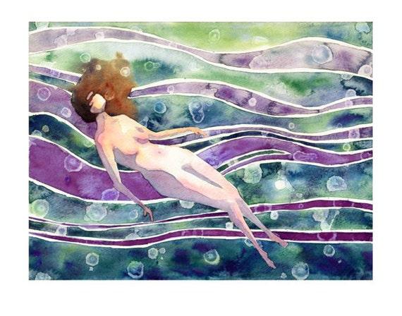 Mermaid Dreams  print  woman underwater floatingWoman Floating Underwater