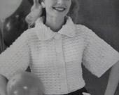 1960's Vintage Crochet PDF Pattern Women's Short Jacket pdf file 736-17