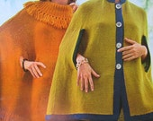 2 Knitted Cape Patterns - 1960's Vintage Patterns, 2 Knit Cape Patterns PDF 1603, 1601