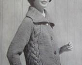 Knitted Sweater PDF Pattern, 1960's Vintage Knitting Pattern Women's Sweater 6413