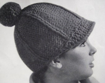 1960's Vintage Knit PDF Pattern for Brimmed Hat with Pom-Pom 9205