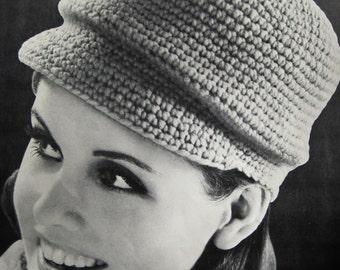 1960's Vintage Crochet Pattern PDF Tam with Pom-Pom 7410