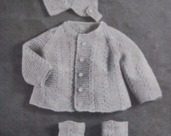 Baby Knitting Patterns, Vintage PDF Patterns, Knit Baby Patterns Layette Set MM2