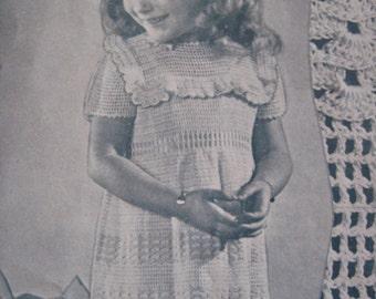 1940's Vintage Crochet Pattern PDF Pattern Toddler Girl's Dress 603