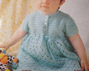 Vintage Crochet PDF Baby Dress Pattern P176b