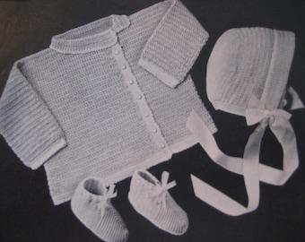1949 Vintage Crochet Baby Sweater, Bonnet, Booties Set PDF Pattern 6705