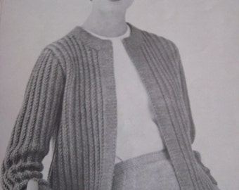 1960's Vintage Knitting PDF Patterns Women's Sweater and Skirt 420, 423