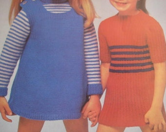 1960's 4 Vintage Kintting PDF Patterns Children's Sweaters and Dresses 3012 3020