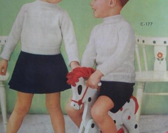 1950's Vintage Knitting PDF Patterns Children's Sweater, Skirt, Pants Sets 177
