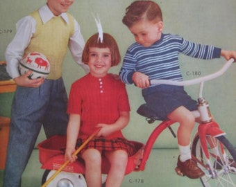 1950's Vintage Knitting PDF Patterns Children's Sweaters 178, 179, 180