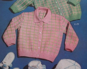 1950's 5 Vintage Crochet and Knitting pdf Patterns Baby Sweaters, Hats, Mittens, Booties C75, C76, C77