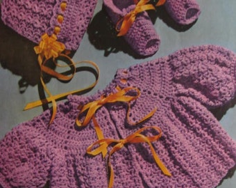 1950's 3 Vintage Crochet Patterns Baby Sweater, Bonnet, Booties PDF Pattern C70