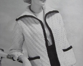 1960's Vintage Knitting PDF Pattern Women's Sweater Jacket 6404