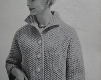1960's Vintage Knitting PDF Pattern Women's Sweater Jacket 6407