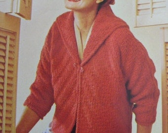 1960's Vintage Knitting PDF Pattern Women's Sweater Jacket 421