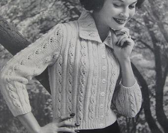 Knit Sweater Pattern PDF, 1960's Vintage Knitting Pattern Women's Cardigan 732-11