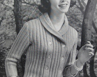 1960's Vintage Knitting PDF Pattern Women's Cardigan Sweater 732-15